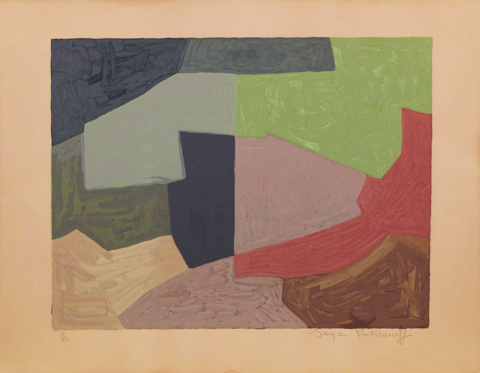 Composition mauve, grise et verte