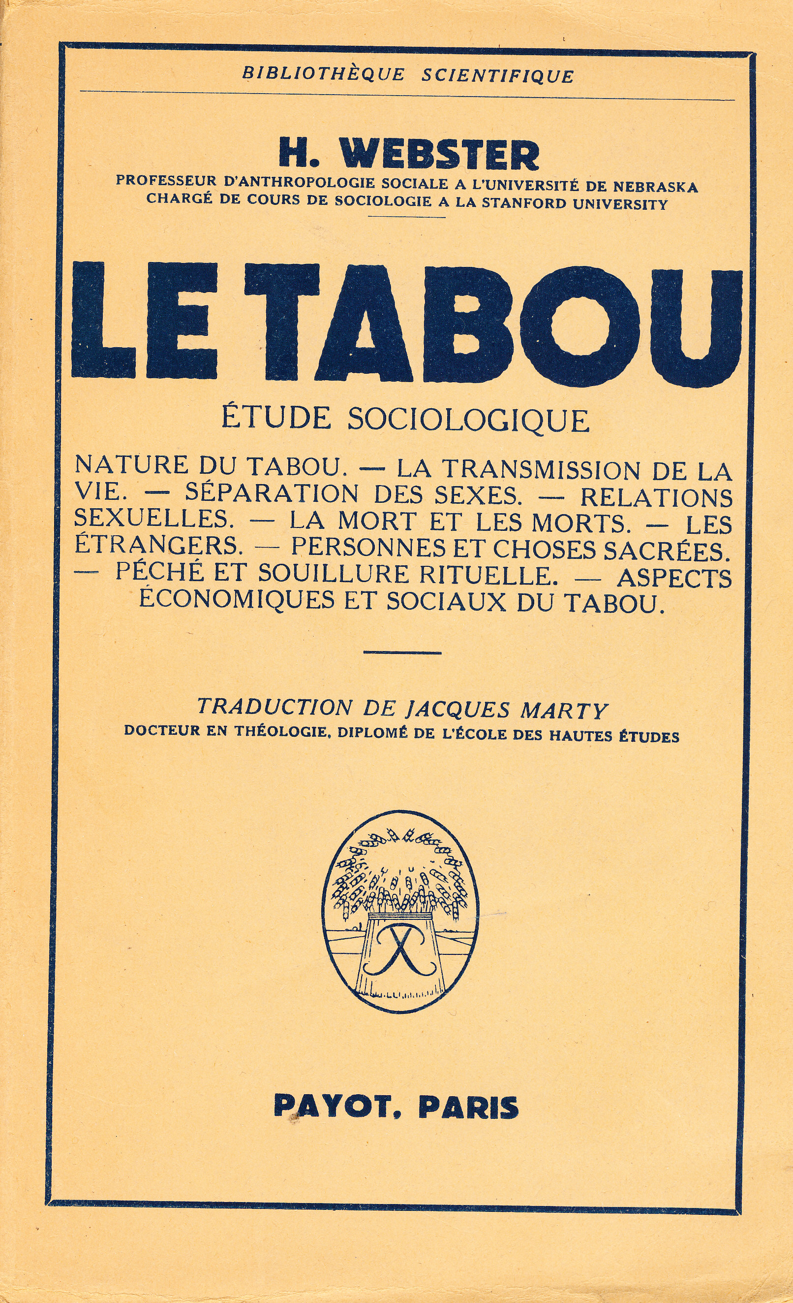 le tabou  etude sociologique h  webster payot  paris arts premiers civilisations